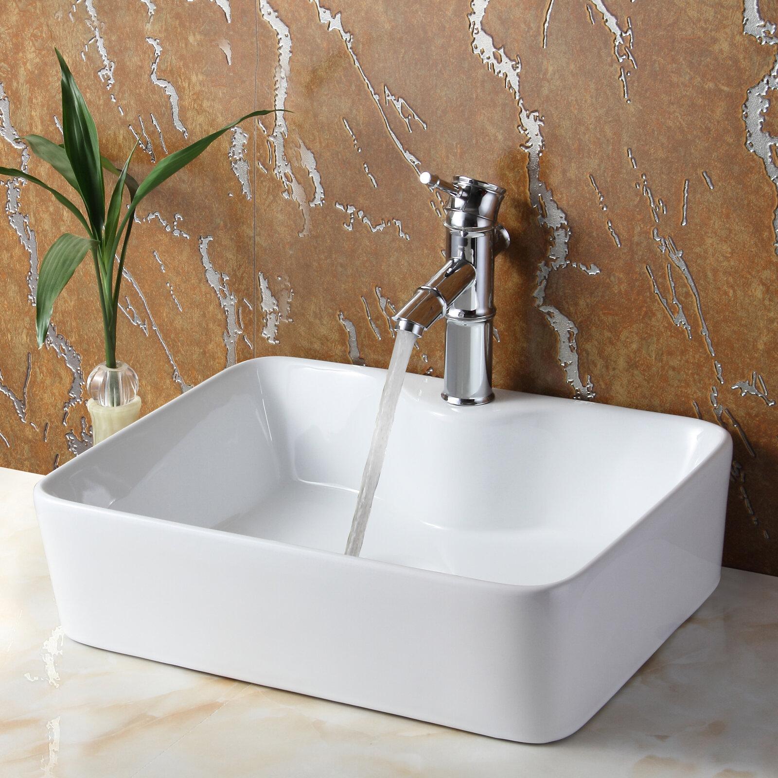 Elite Ceramic Rectangular Vessel Bathroom Sink U0026 Reviews | Wayfair