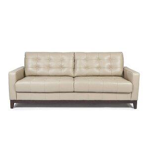 Erdman Taupe Leather Sofa by Brayden Studio