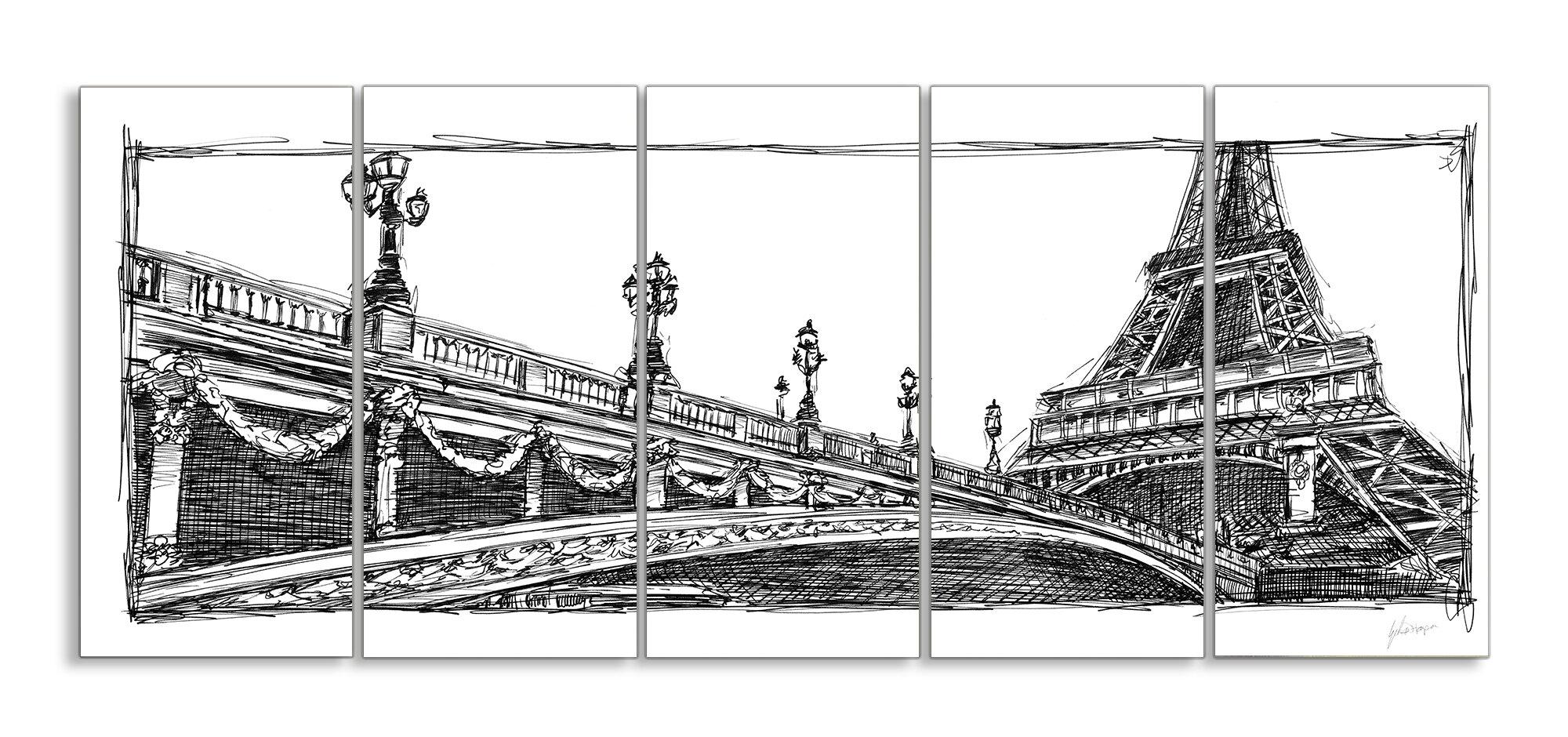 Stupell Industries Eiffel Tower Drawing Paris 5 Piece Graphic Art On Canvas Set Wayfair