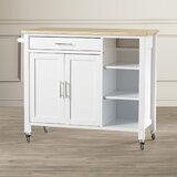 Landau Kitchen Cart with Butcher Block Top by Alcott Hill®