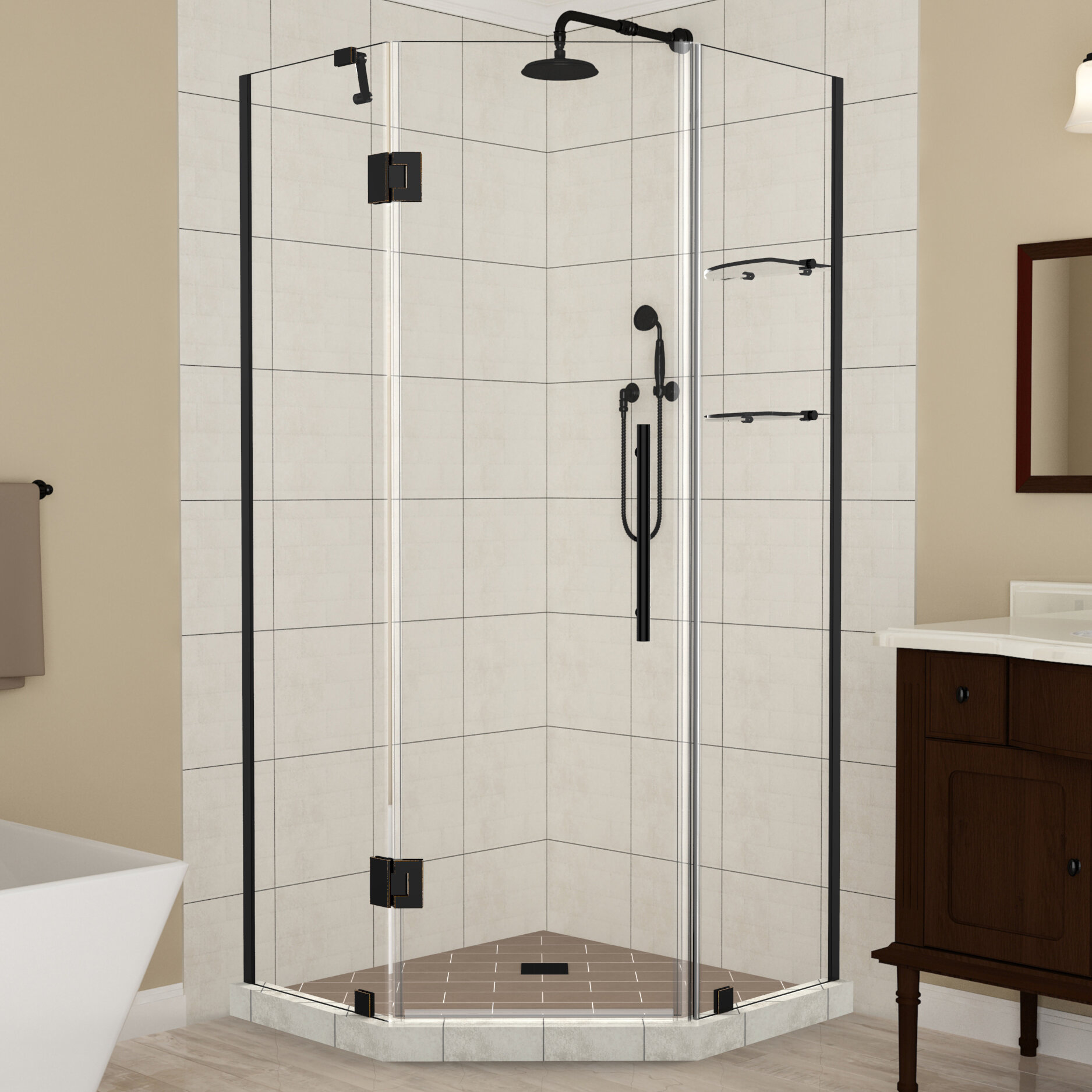 Merrick Gs Frameless 42 X 72 Neo Angle Hinged Shower Enclosure