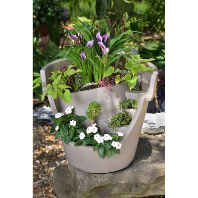 Eco Personal Garden Oversized Broken Plastic Pot Planter Colour: Putty Beige