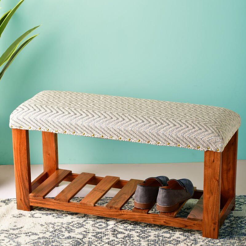 Foundry Select Silver And White Chevron Entryway Storage Accent Bench Wayfair Ca