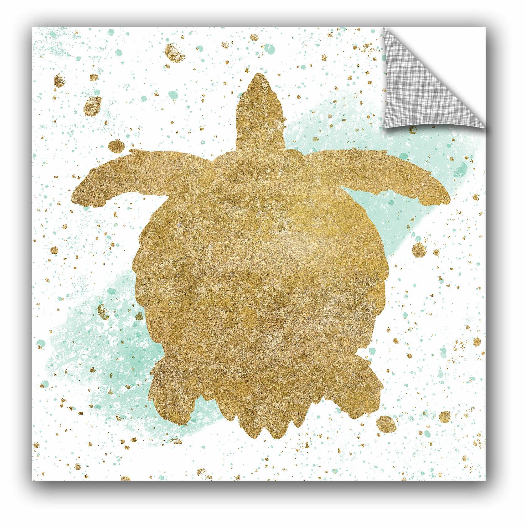 ArtWall Wild Apple Silver Sea Life Aqua Turtle Wall Decal | Wayfair