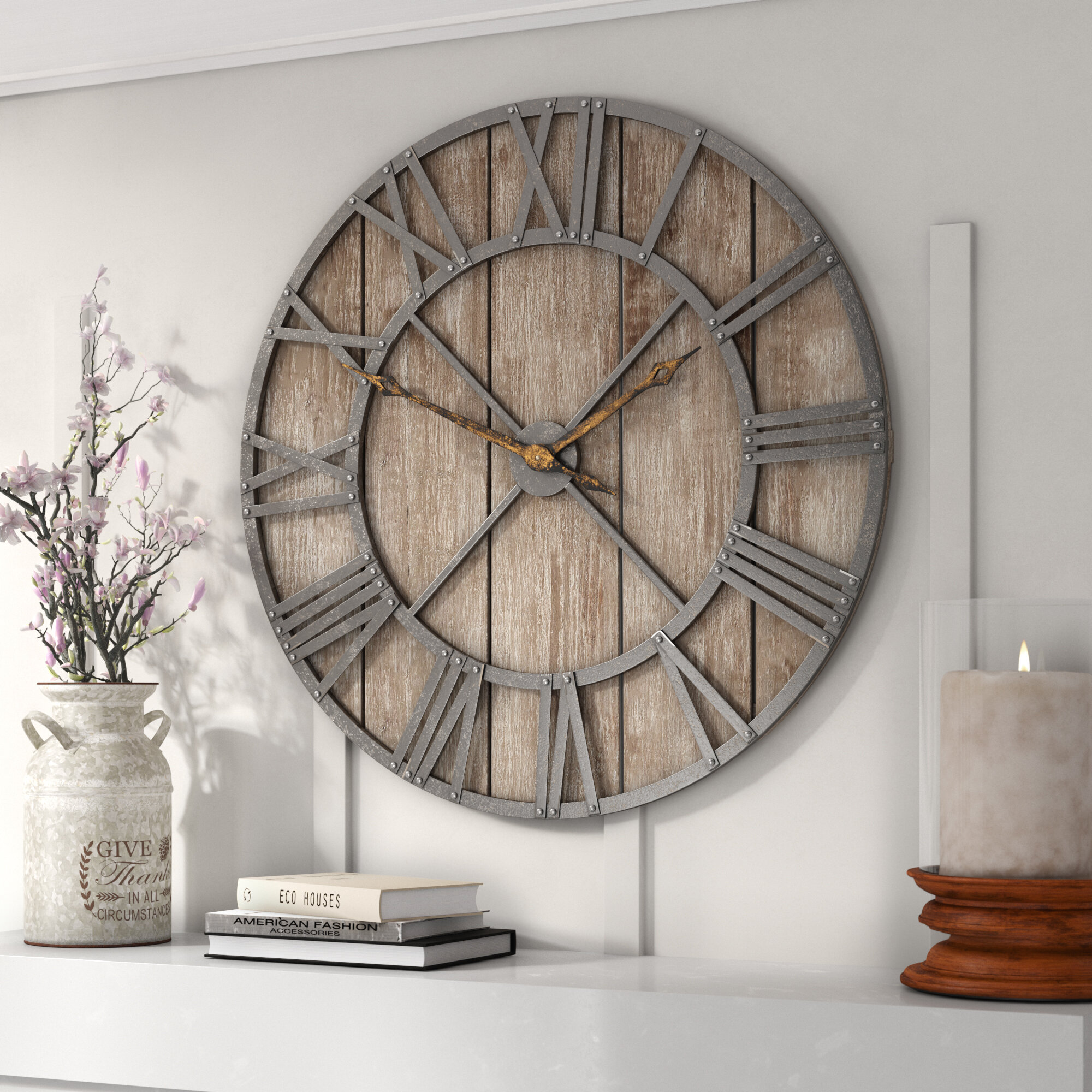Oversized Eglinton 36 Roman Numerals Barnwood Wall Clock Reviews