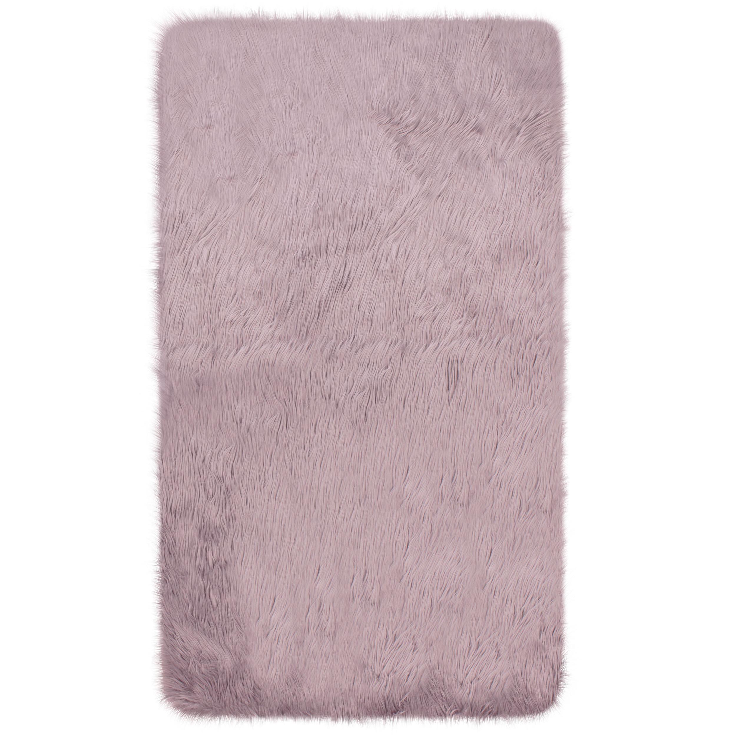 Mercer41 Ophir Faux Fur Pink Area Rug
