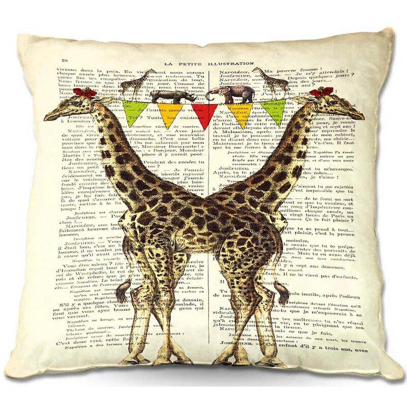 World Menagerie Tomball Couch Giraffes Throw Pillow Wayfair