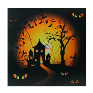 Led lighted wall art wayfair led lighted spooky house and eyes halloween graphic art print on canvas aloadofball Choice Image
