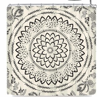Famenxt Botanical Folk Vibes Mandala Single Shower Curtain