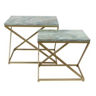 Astoria Faux Marble 2 Piece Nesting Table by Mercer41