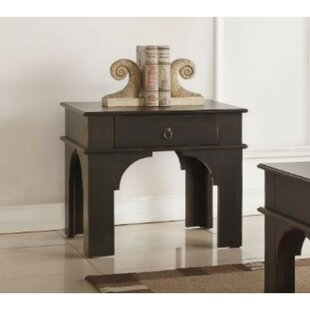 Light Rectangular Wooden End Table with Storage