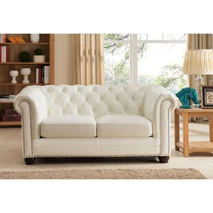 Crissyfield Leather Chesterfield Loveseat