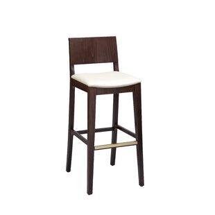 Beechwood Solid Back Upholstered Seat 30 Bar Stool