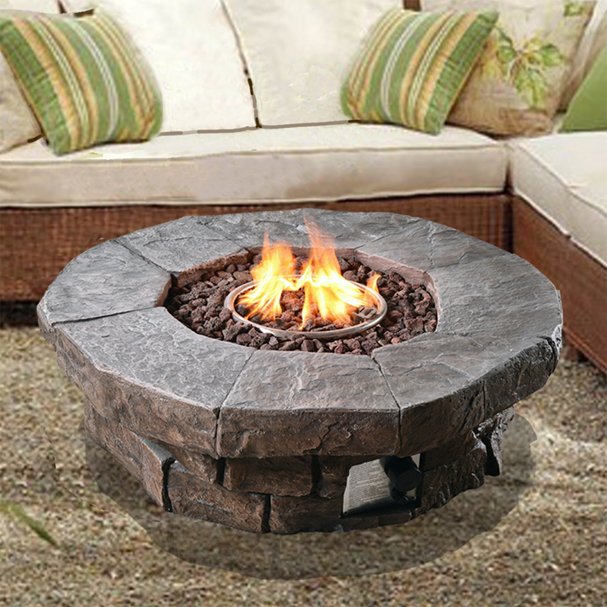 Outdoor Propane Fire Pit.Annabesook Stone Propane Fire Pit