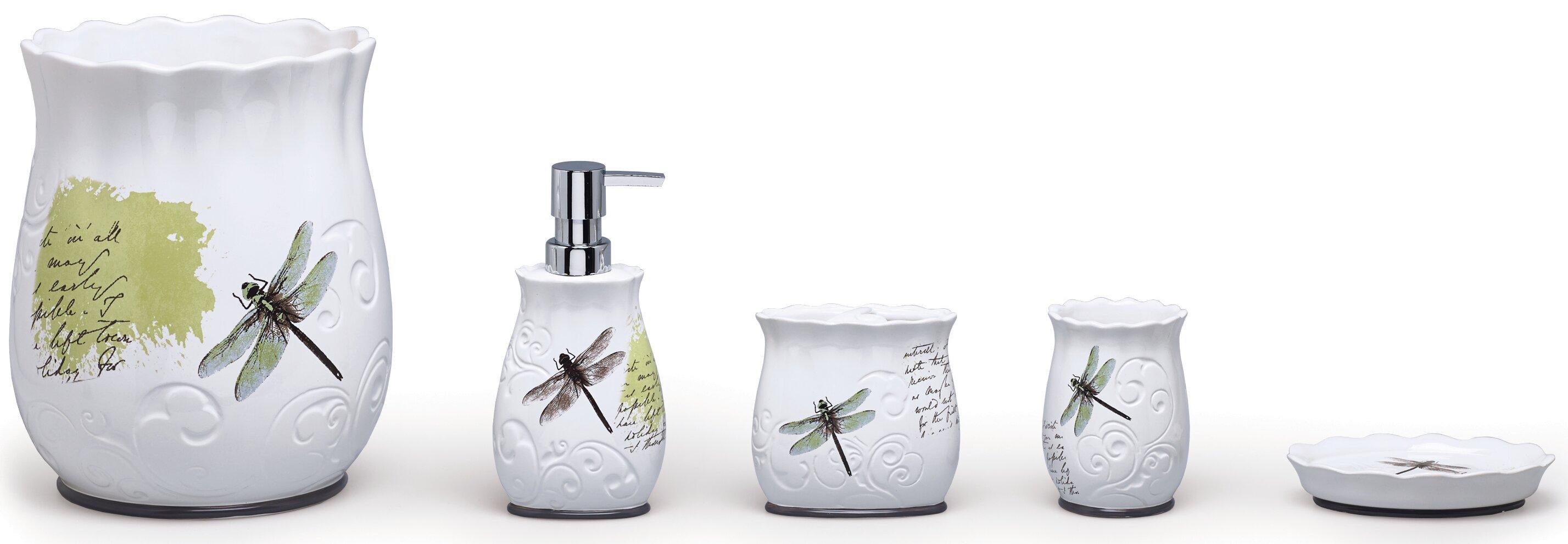 Moda At Home Dragonfly Ceramic 4-Piece Bathroom Accessory Set ...