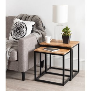 Top Reviews Teena Metal and Wood 2 Piece Nesting Tables by Brayden Studio