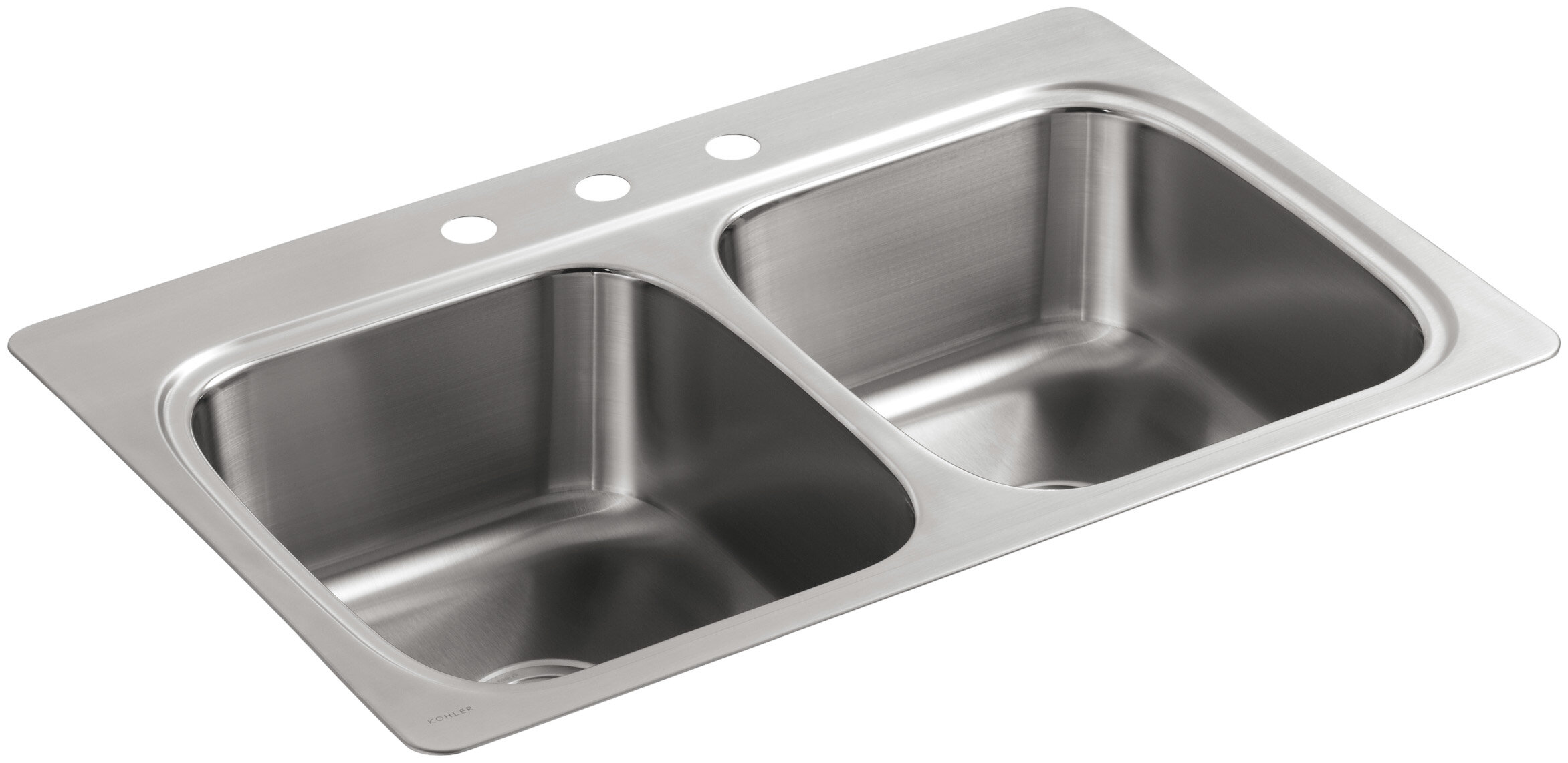 K 5267 3 Na Kohler Verse Top Mount Double Equal Bowl Kitchen Sink With 3 Faucet Holes Wayfair