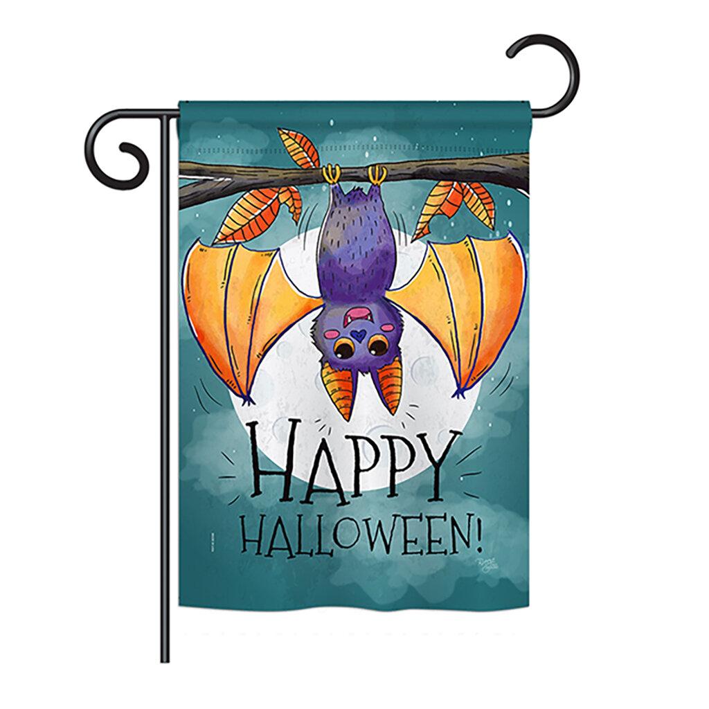 Breeze Decor Happy Halloween Bat Fall 2 Sided Polyester 1 X 1 5 Ft Garden Flag Wayfair