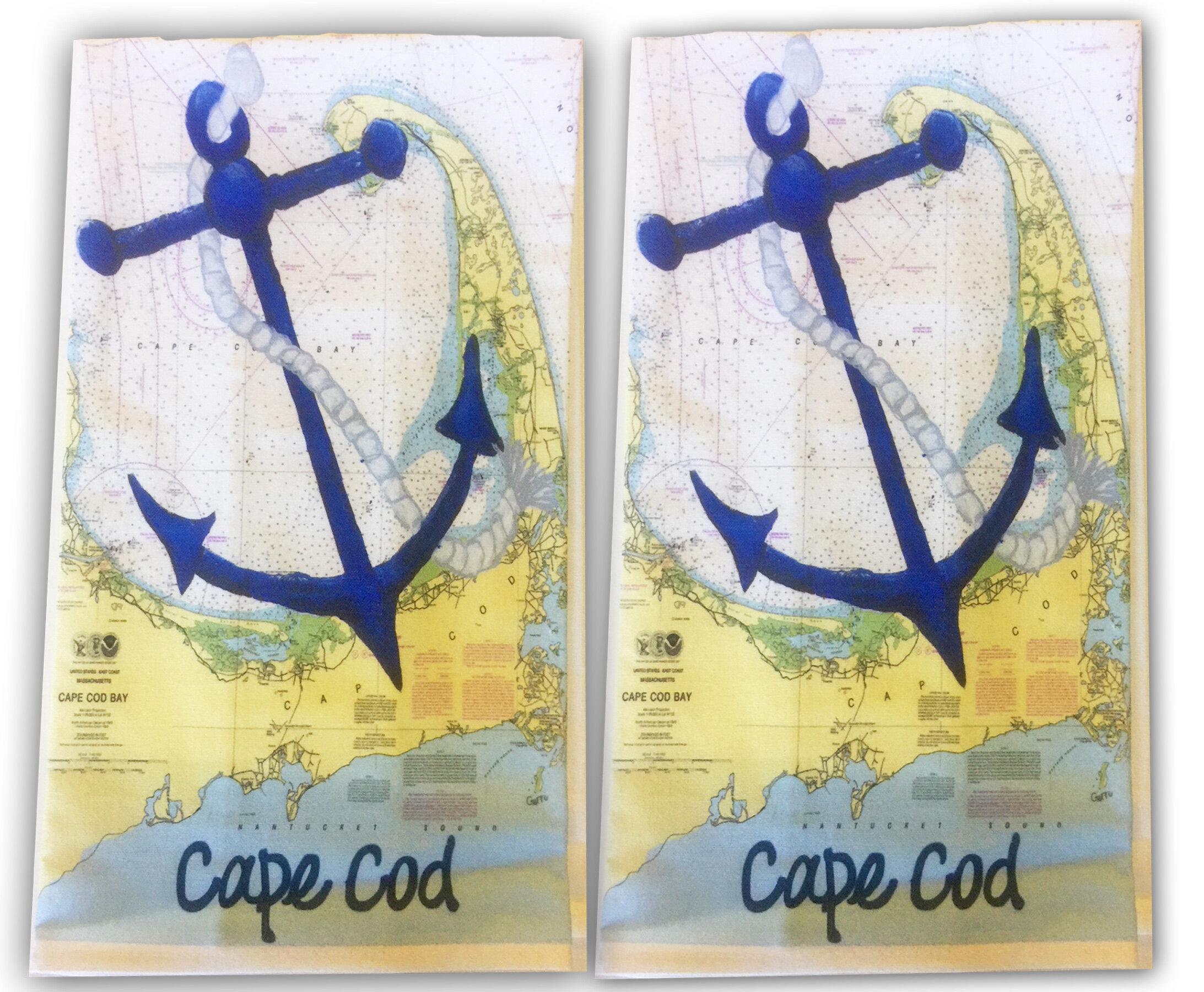 Longshore Tides Anchor On Cape Cod Nautical Chart Flour Sack Towel