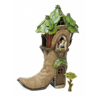 Woodland Knoll Fairy Boot House Statue by Marshall Home Garden