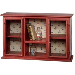 Prentiss Distressed Wall Cabinet with Anchor Pattern