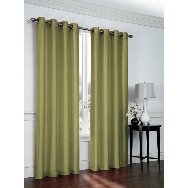 Belterra Faux Silk Semi Sheer Grommet Curtain Panels
