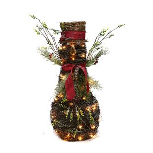 rattan lighted christmas snowman decoration