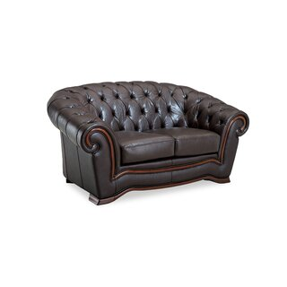 "Barkell Leather 70"" Rolled Arms Loveseat by Canora Grey SKU:EE840104 Information"