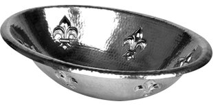 Find for Fleur de Lis Embossed Copper Metal Oval Undermount Bathroom Sink By D'Vontz