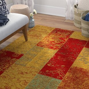 Rosmore Velour Red Yellow Area Rug