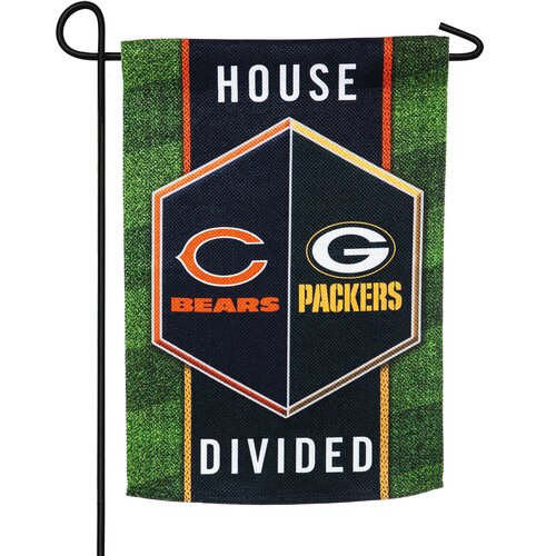 """Chicago Bears 13/"""" x 18/"""" House Divided Flag Green Bay Packers Vs"""