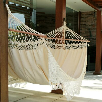 Tarun Portable Tropical Nature Outdoors Or Backyard Hand Woven Brazilian Cotton Tree Hammock by World Menagerie No Copoun