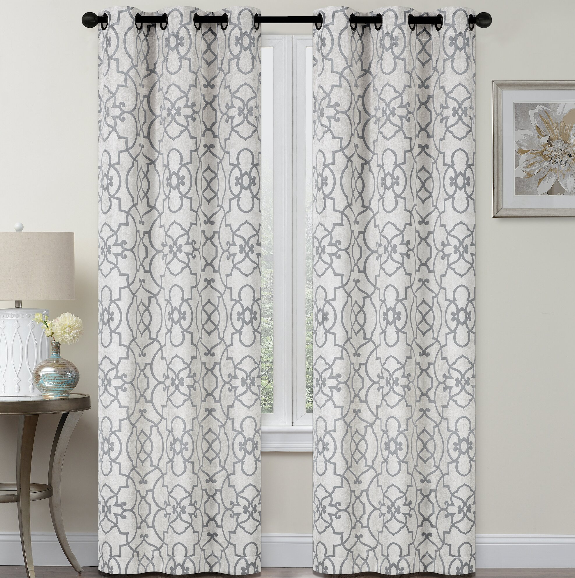 Set 2 Gray Grey White Geometric Trellis Curtains Panels Drapes 84 inch Darkening