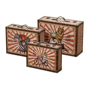 Big Top Circus Animal Suitcase 3 Piece Faux Leather Storage Box Set