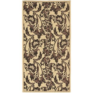 Short Tan / Black Indoor/Outdoor Area Rug