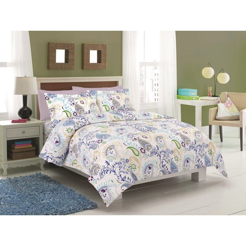 Blue Printed Flannel 3 Piece Abstract Paisley Duvet Cover Set by Tribeca Living