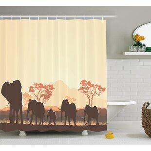 Atlantis African Wildlife Safari Big Animal Elephants Single Shower Curtain