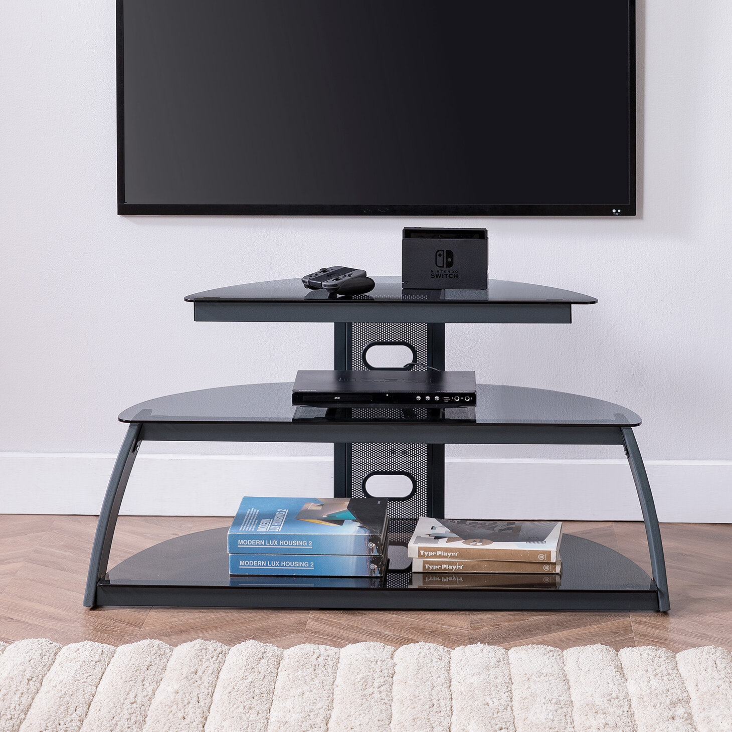 gaming tv stand Ebern Designs Duke Gaming Media Console TV Stand u0026 Reviews | Wayfair