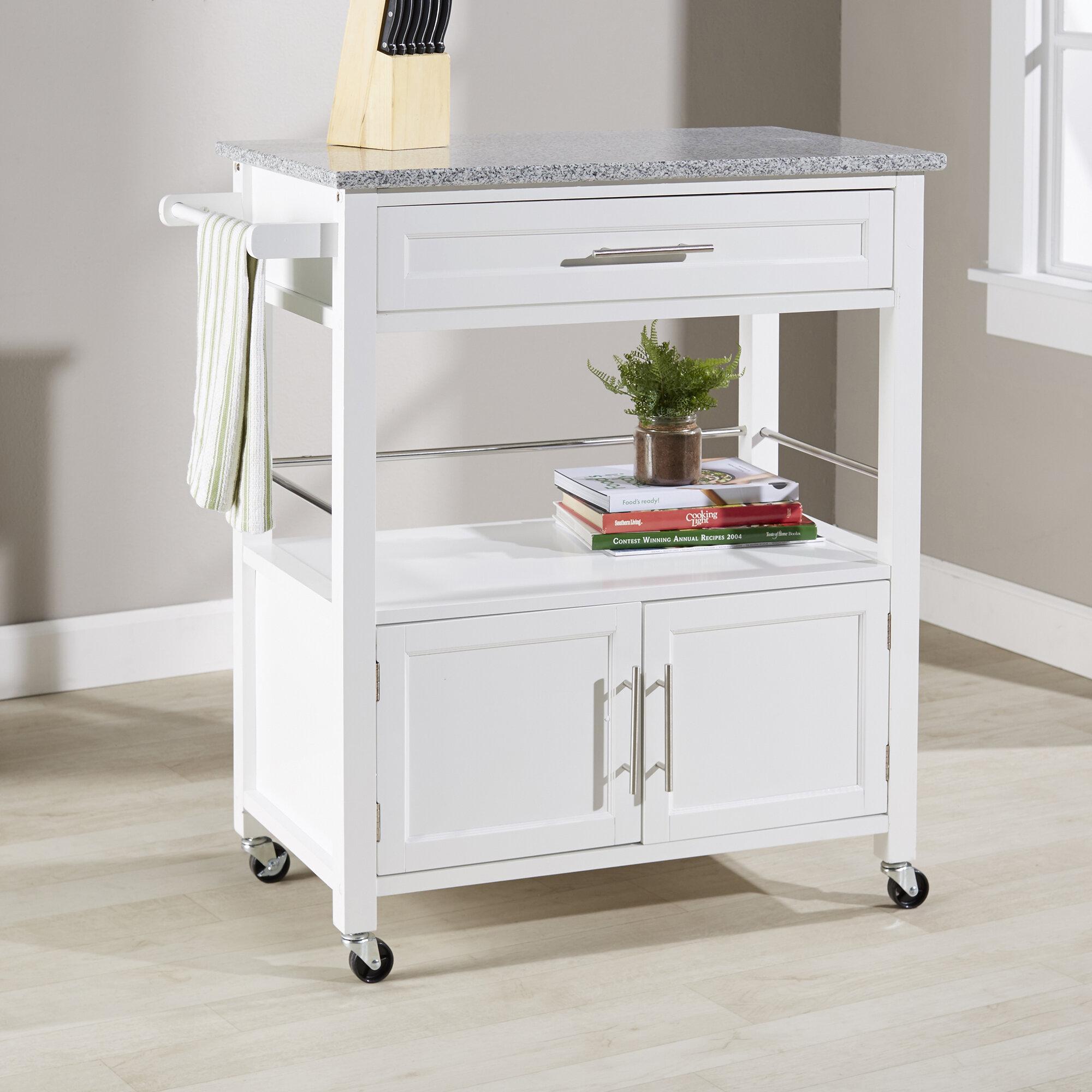 Latitude Run Jenuel Kitchen Cart With Granite Top And Locking Wheels Reviews Wayfair