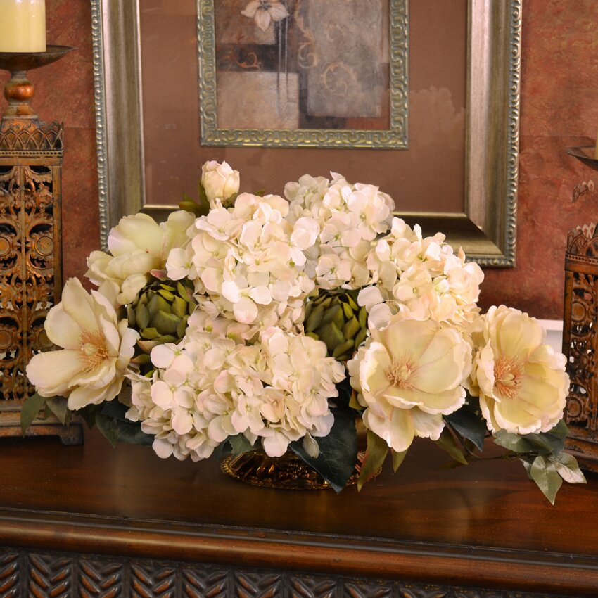 Magnolia And Hydrangea Silk Floral Centerpiece