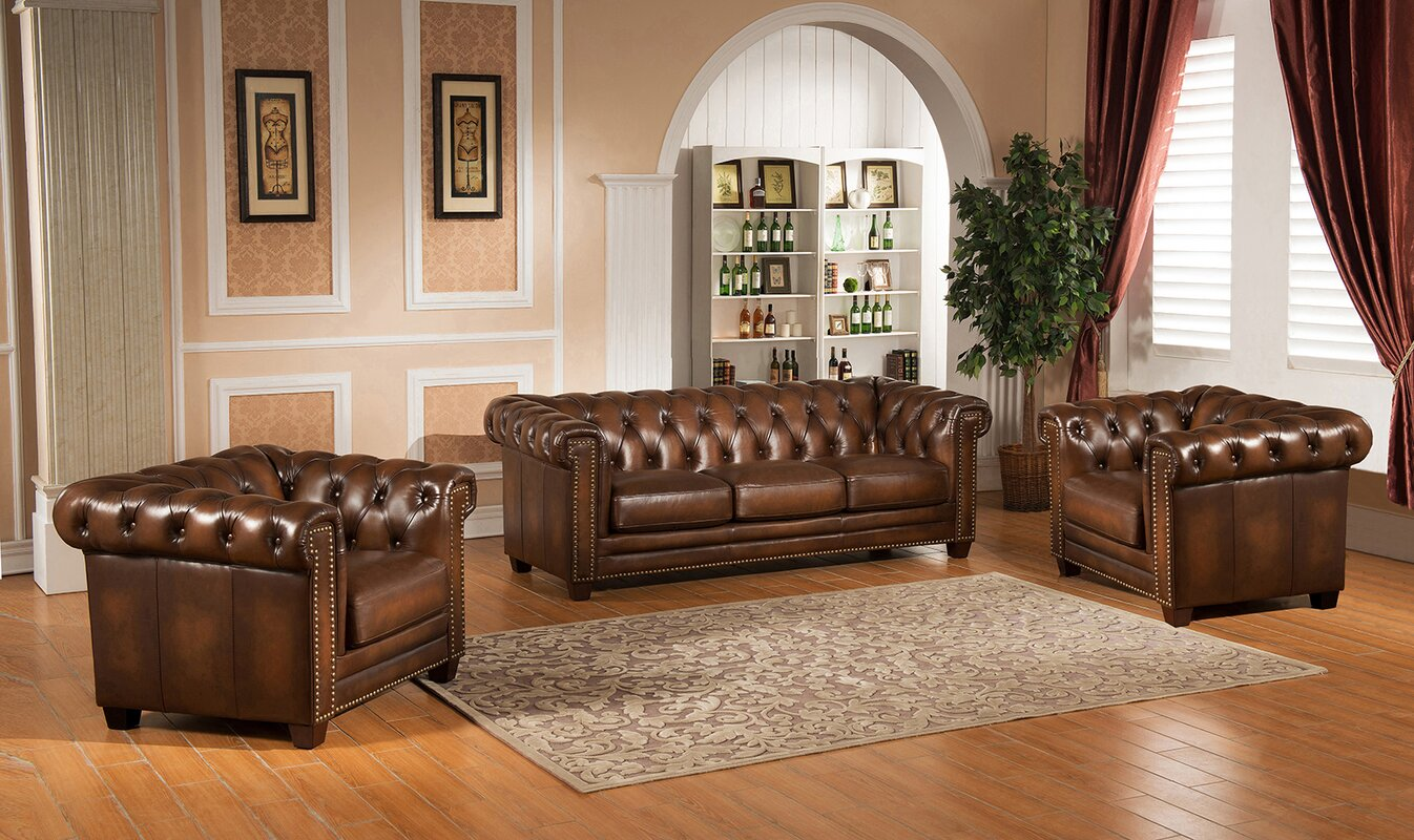 Amax Hickory Chesterfield Genuine Leather 3 Piece Leather Living ...
