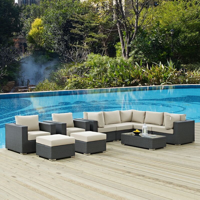 Tripp 10 Piece Rattan Sunbrella Sectional Seating Group With Cushions Joss Main