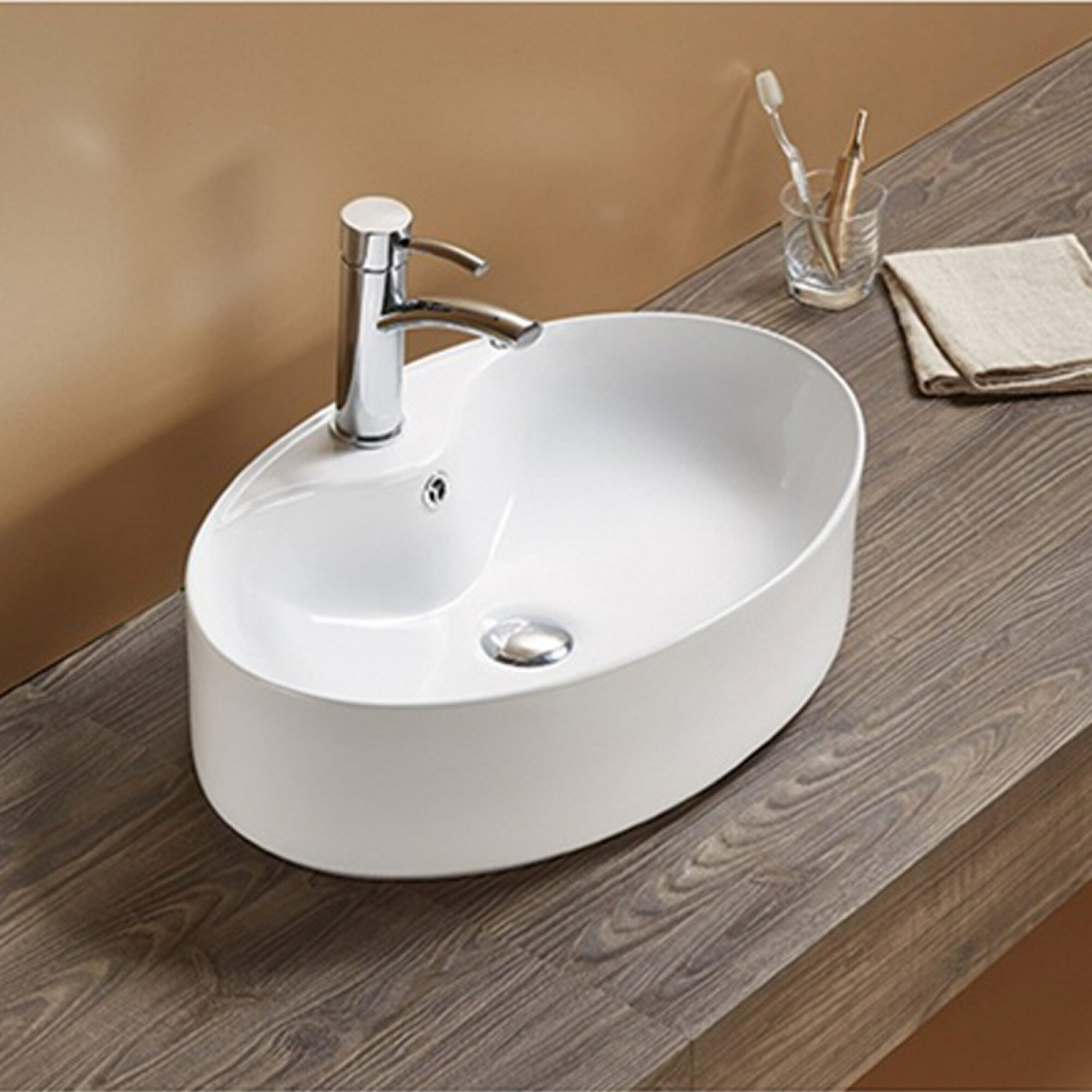 Avanities Ceramic Oval Vessel Bathroom Sink Wayfair