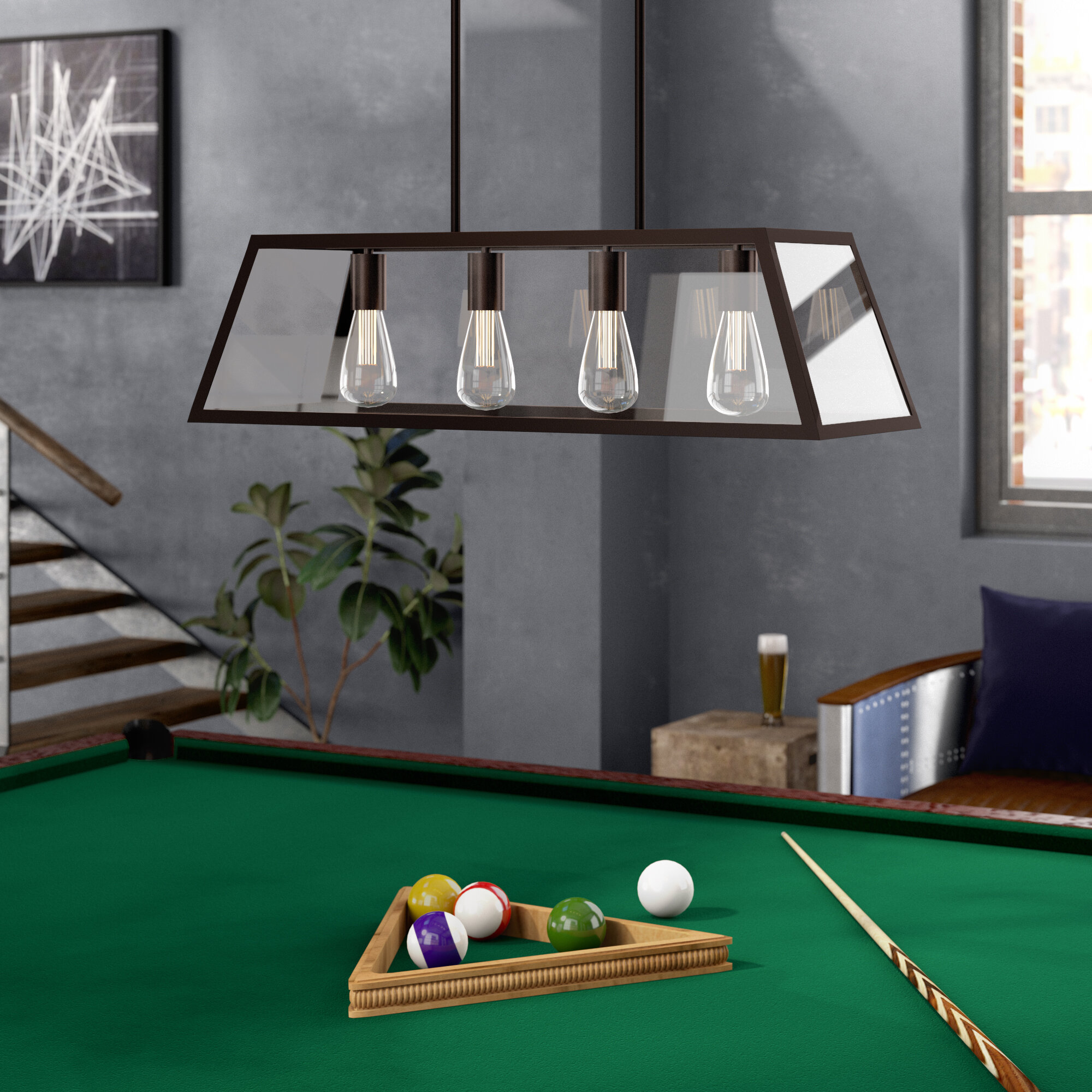 Allena 4 light pool table light pendant