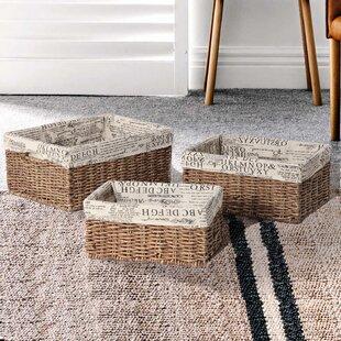 3 Piece Rectangular Shaped Basket Set by Adeco Trading