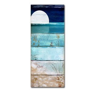 'Beach Moonrise I' by Color Bakery Painting Print on Wrapped Canvas