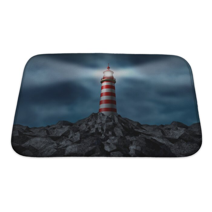 Marine Lighthouse Clearing The Path Bath Rug