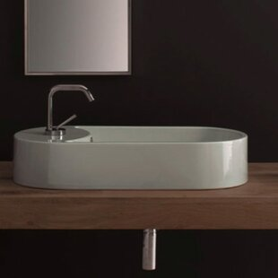 Trend Seventy Ceramic Oval Vessel Bathroom Sink with Overflow ByScarabeo by Nameeks
