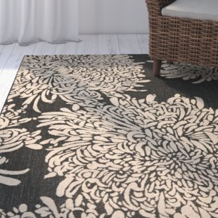 Best Reviews Chrysanthemum Black/Beige Area Rug ByMartha Stewart Rugs
