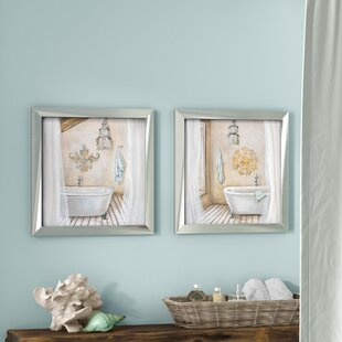 Crystal Bath 2 Piece Framed Acrylic Painting Print Set Under Glass